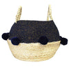 Navy Blue Pom Pom Rope Basket
