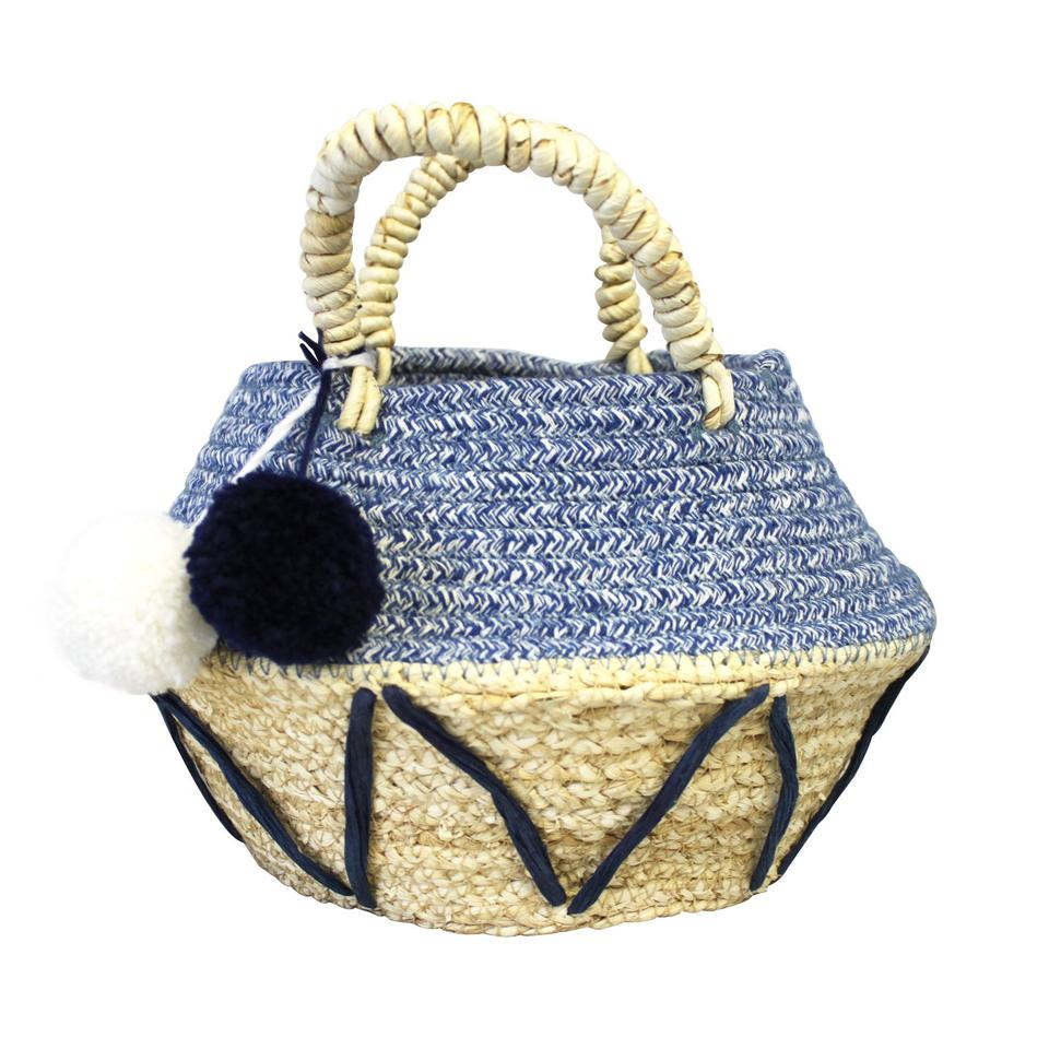 Small Blue Zig Zag Rope Basket