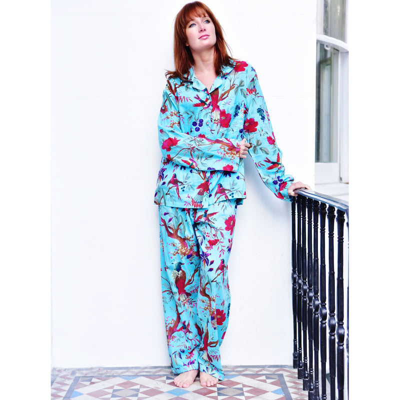 Ladies Turquoise Birds of Paradise Print Cotton Pyjamas
