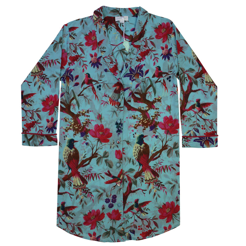 Ladies Blue Bird's of Paradise Cotton Nightshirt