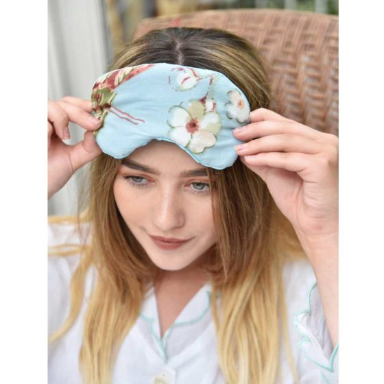 Blue Blossom Cotton and Satin Eye Mask