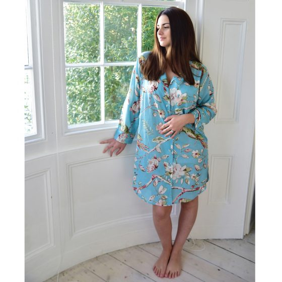 Ladies Blue Blossom and Bird Print Cotton Nightshirt