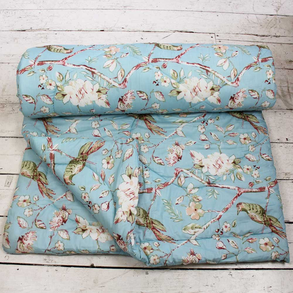 Blue Blossom and Birds Print Cotton Indian Bed Quilt
