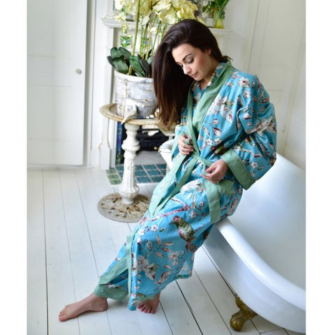 Ladies Mint Green Blossom and Bird Print Cotton Pyjamas