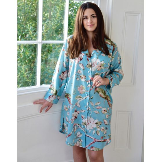 Ladies Blue Blossom and Bird's Cotton Nightshirt