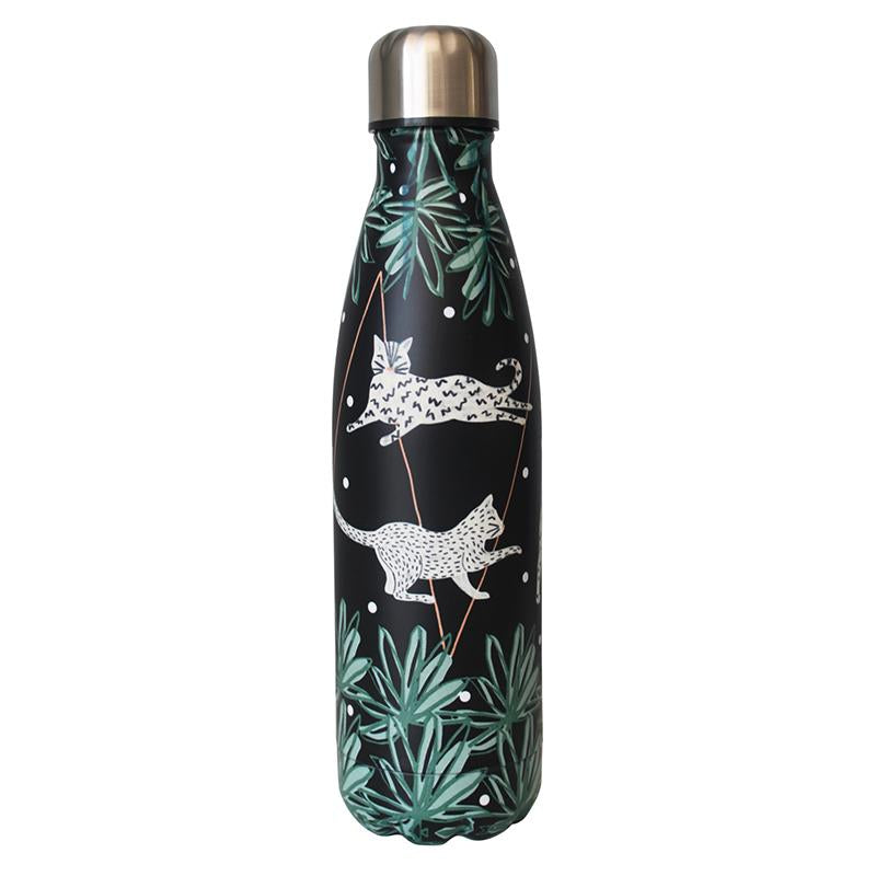Black and White Cat Stainless Steel Flask