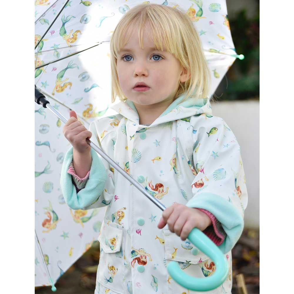 Girls White Mermaid Print Raincoat