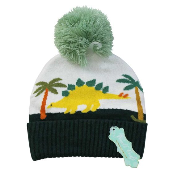 Knitted Dinosaur Hat with Pom Pom