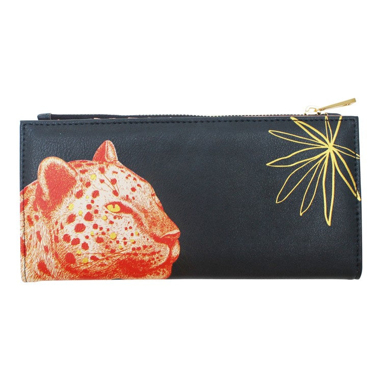 Dark Blue Faux Leather Illustrated Leopard Wallet