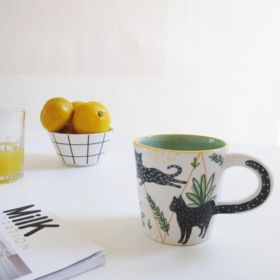 Black and White Illustrated Cat Mug