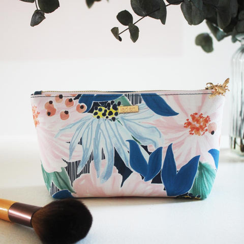 Cream Hummingbird Print Make Up Bag