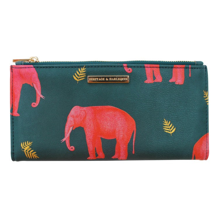 Blue Faux Leather Illustrated Elephant Wallet