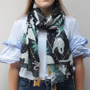 Black & White Graphic Cat Print Scarf
