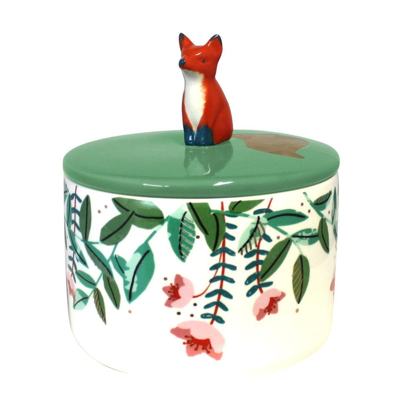 Green Secret Garden Ceramic Fox Jar