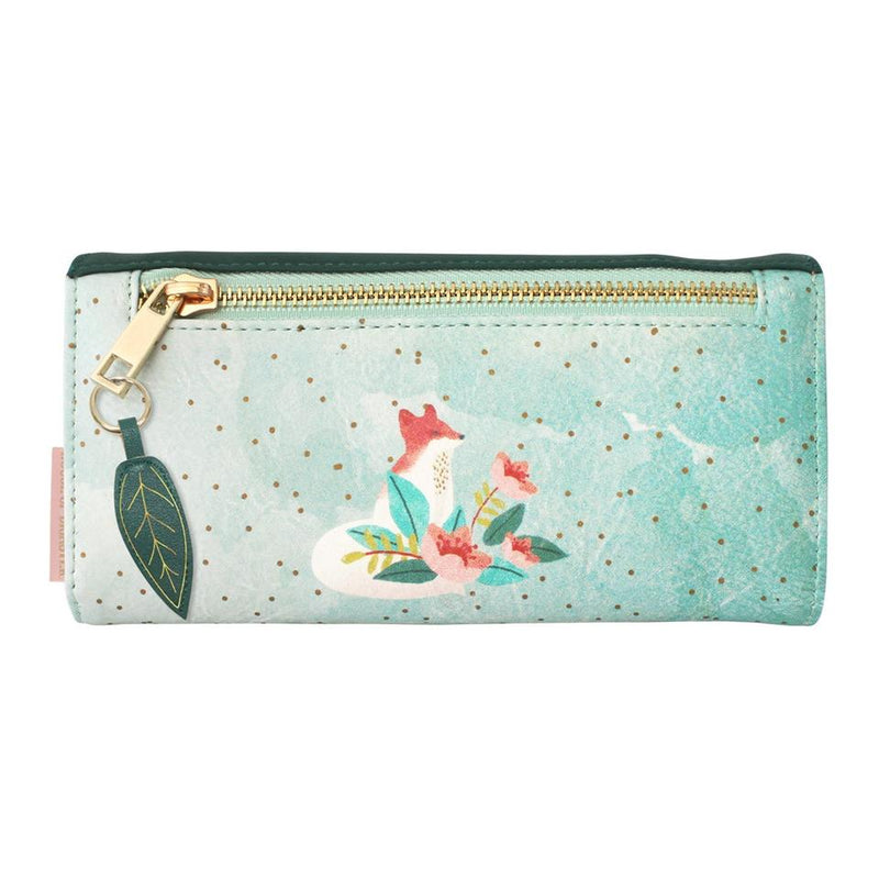 Green Faux Leather Secret Garden Fox Wallet