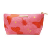 Pink Faux Leather Butterfly Make Up Bag