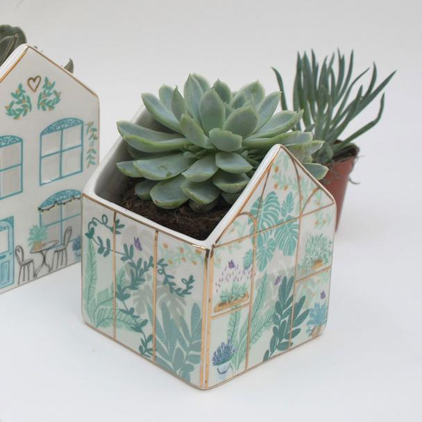 Mini Ceramic Greenhouse Planter with Gift Box