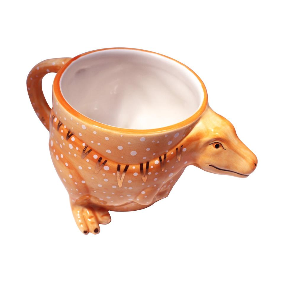 Orange T-trex Dinosaur Shaped Mug