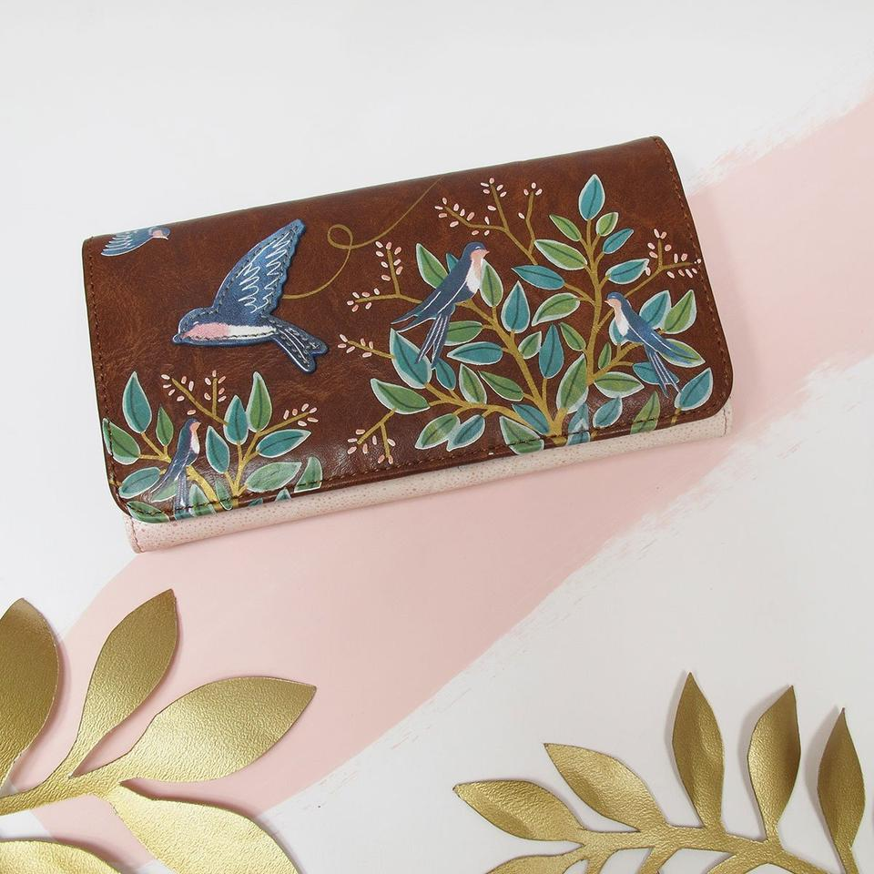 Brown Faux Leather Secret Garden Bird Wallet