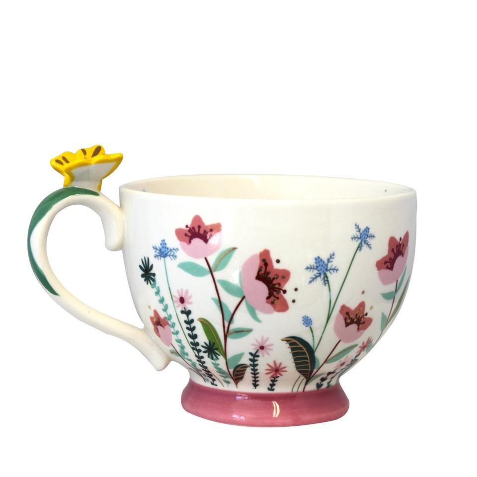 Pink Floral Large Teacup With Gift Box