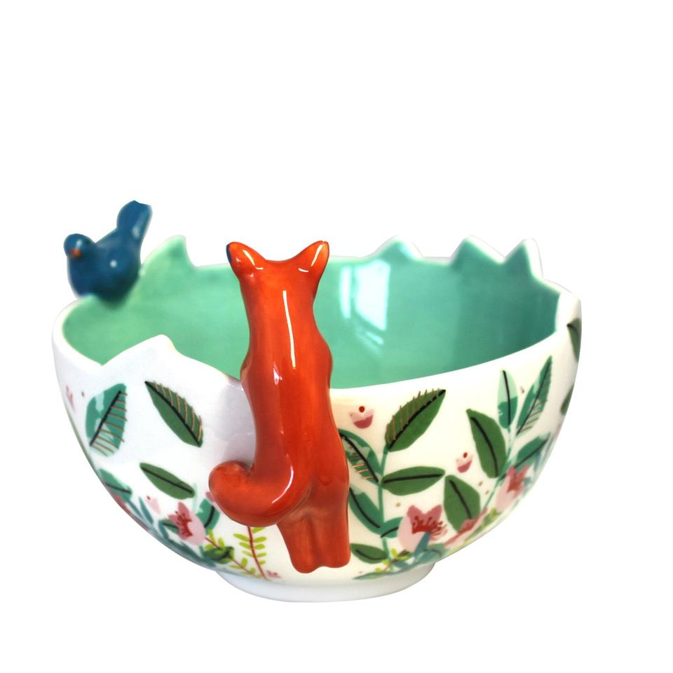 Green Ceramic Secret Garden Fox Bowl
