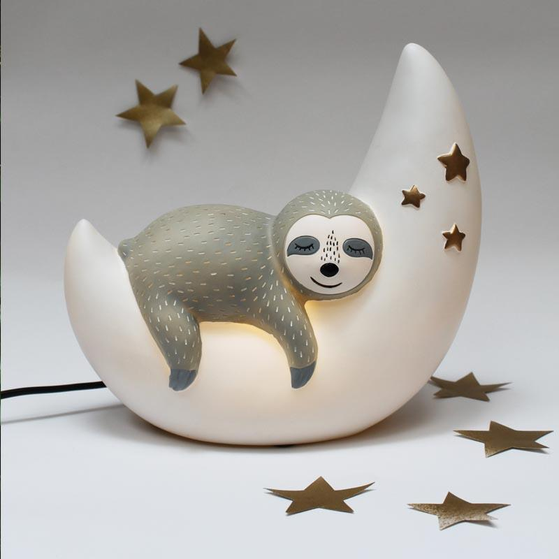 White Sleepy Sloth and Moon Night Light