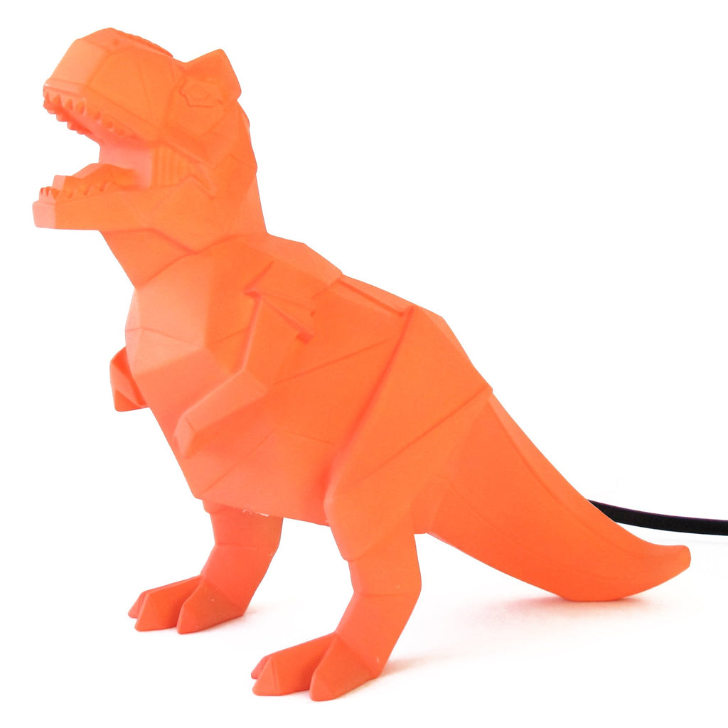 Orange T-rex Origami Dinosaur Lamp