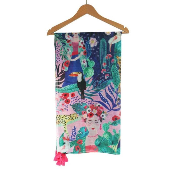 Ladies Frida Kahlo Tropical Illustrated Scarf