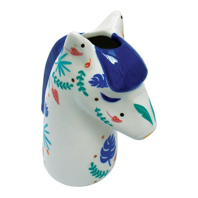 White and Blue Ceramic Zebra Vase