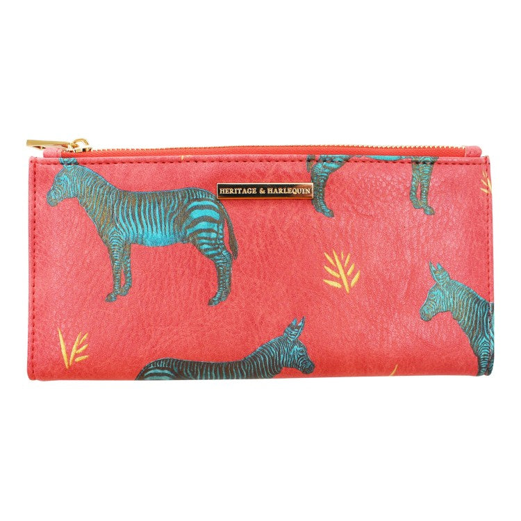 Pink Faux Leather Illustrated Zebra Wallet
