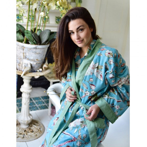 Ladies Blue Blossom and Bird Print Cotton Dressing Gown
