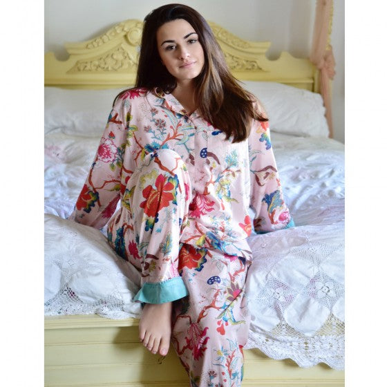 Ladies Pink Floral Cotton Pyjamas