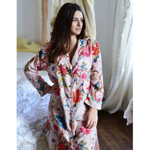 Ladies Blue Blossom and Bird Print Cotton Pyjamas