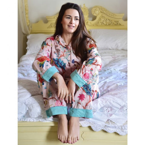 Ladies Cream Birds of Paradise Print Cotton Pyjamas