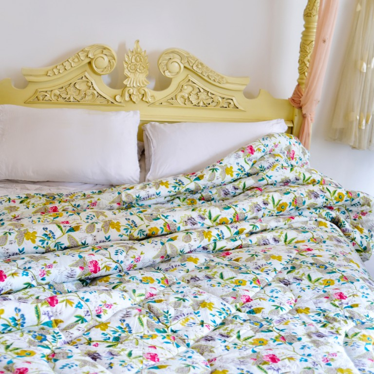 White Leaf Floral Print Cotton Indian Bed Quilt