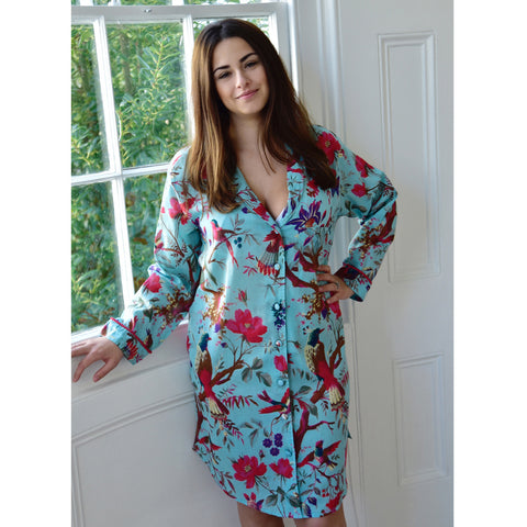Ladies Red and Pink Rose Floral Print Cotton Dressing Gown