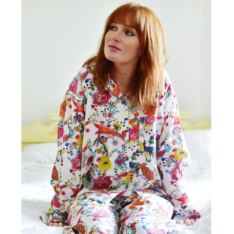 Ladies White Poppy Print Cotton Pyjamas