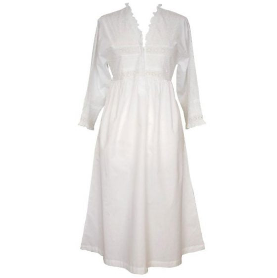 Ladies Long Sleeve Nightdress With Frilly V Neck Line Elizabeth