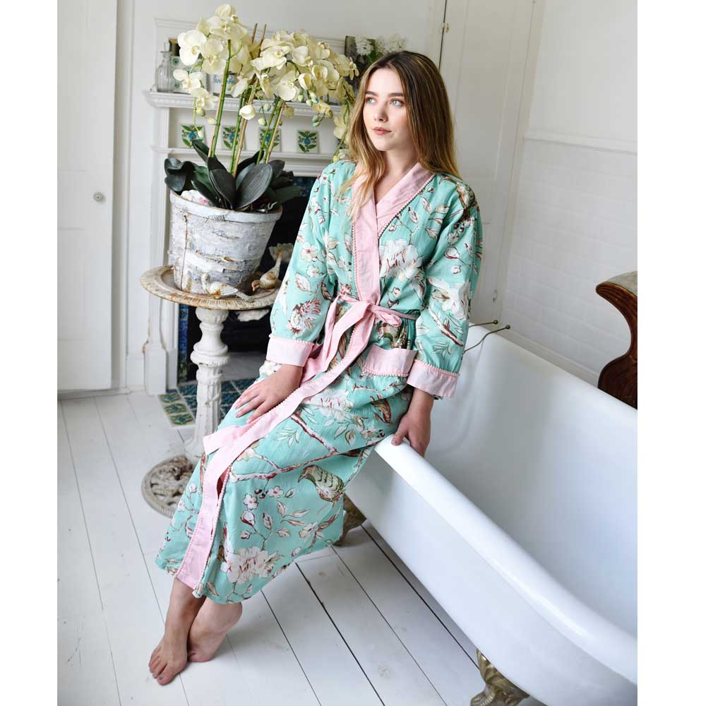 Mint Green Blossom Ladies Cotton Dressing Gown