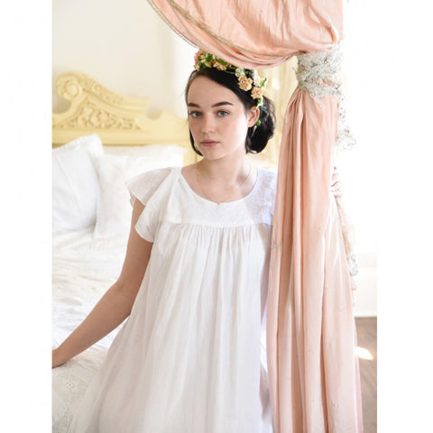 Ladies White Cotton Nightdress with Fluted Sleeves 'Valentina'