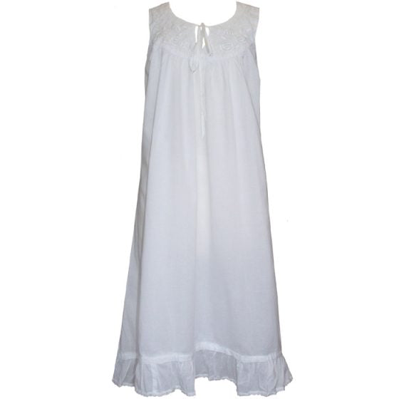 Ladies Sleeveless Nightdress With Rose Embroidery & Pearl Seeding Nora