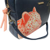 Dark Blue Faux Leather Leopard Handbag