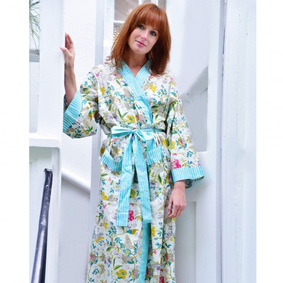 White and Green Floral Leaf Cotton Dressing Gown by Powell Craft