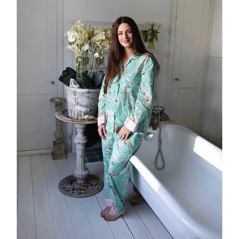 Ladies Mint Green Blossom and Bird's Cotton Pyjamas