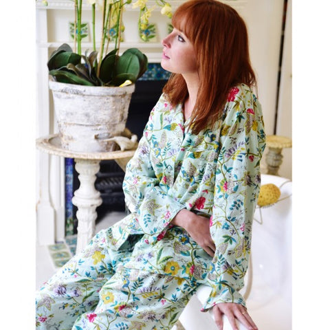 Mint Green Floral Cotton Dressing Gown by Powell Craft