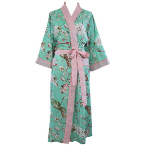 Ladies Mint Green Blossom and Bird Print Cotton Dressing Gown