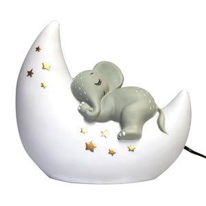 White Sleepy Elephant and Moon Night Light