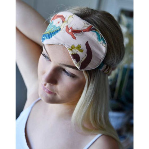 White Leaf Cotton and Satin Eye Mask
