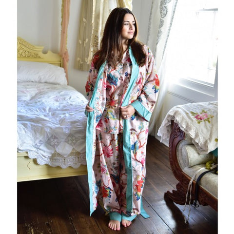 Ladies Turquoise Hummingbird Print Cotton Dressing Gown