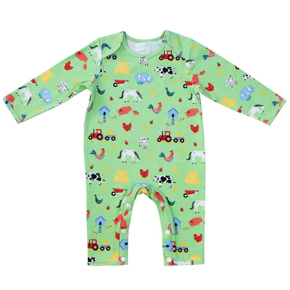 Farmyard Print Long Sleeve Baby Jumpsuit